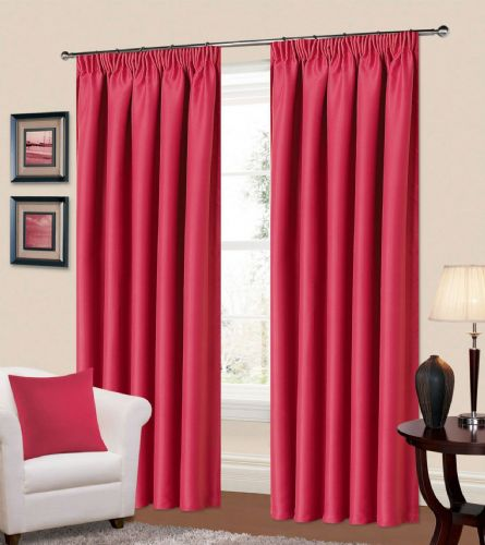 PLAIN FUSCHIA PINK COLOUR THERMAL BLACKOUT READYMADE BEDROOM LIVINGROOM CURTAINS PENCIL PLEAT